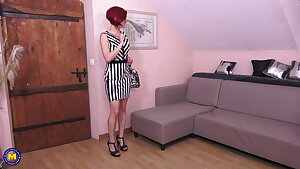 Naughty mom Flora Milano takes two spears