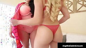 Big Cock Stuffer Angelina Castro Stuffs Cristi Ann with Strapon!