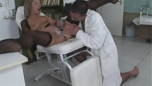 The dame has problems in personal areas and the young doctor knows how to treat her