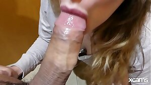 My roomate caught me on the toilet while peeing, I got mouthhole of cum