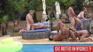 Outdoor Swimming Pool Orgy With Kitty Core, Lana Vegas, Rosalina Love, Jezzi Cat, Mugur, And Many More Other Horny Pornstars