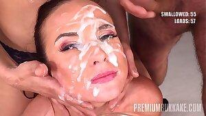 Premium Bukkake - Vinna Reed gulps 68 huge mouthful cum loads