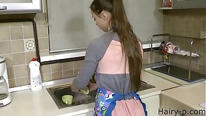 young wifey in kitchen