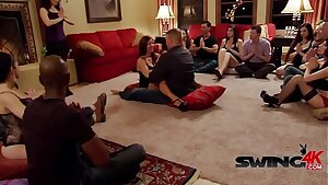 Swinger couples are reunited in a naughty and horny party.