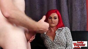 Firey redheaded voyeur babe humiliates dick