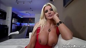 Towheaded stepmother with huge tits POV blowjob session