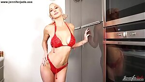 British Big Boobs Jennifer Jade encourages you to jerk off with her instructions