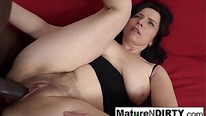Mature with natural tits gets a creampie in her furry pussy!