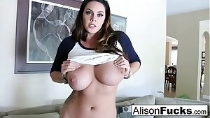 Giant Tit Alison Tyler rubs her giant knockers before pleasing herself