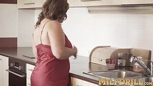 Busty fat MILF Diya pussy plays solo in the kitchen