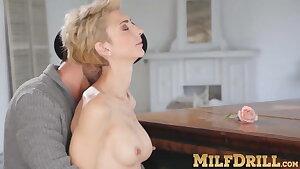 Mature blond damsel Natalie Anna sucks dick and fucked hard