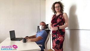 Horny Secretary Blowjob Spunk-pump Boss and Beaver Bang in the Offi
